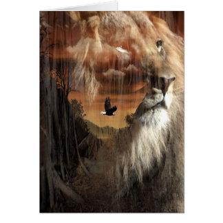 Orgullo del león tarjeta de felicitación