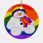 Orgullo del muñeco de nieve ornamento de reyes magos