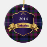 Orgullo del ornamento del personalizado de la tela adorno navideño redondo de cerámica