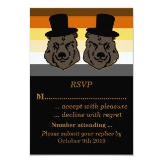 Orgullo del oso que casa el oro y el negro de RSVP Invitación 8,9 X 12,7 Cm