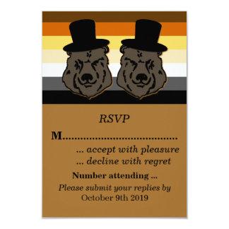 Orgullo del oso que casa RSVP para los novios gay Invitación 8,9 X 12,7 Cm