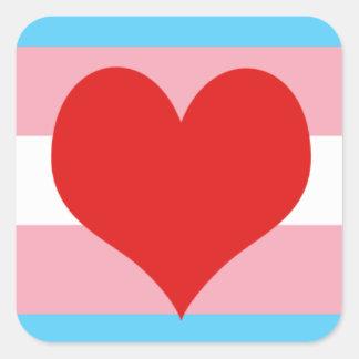 Orgullo del transexual calcomanías cuadradases