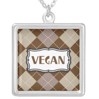 Orgullo del vegano de Brown Argyle Colgante Cuadrado