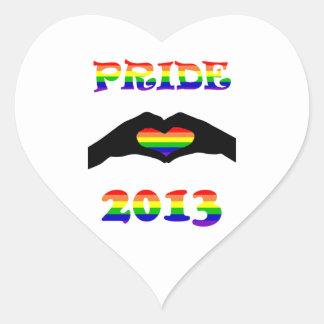 ¡Orgullo gay 2013!! Pegatina En Forma De Corazón