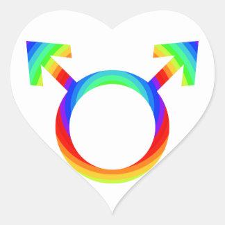 orgullo gay 2become1 pegatina en forma de corazón
