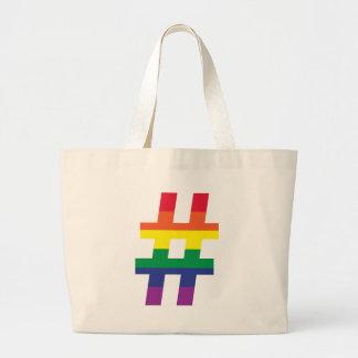 Orgullo gay de la etiqueta del hachís bolsa tela grande