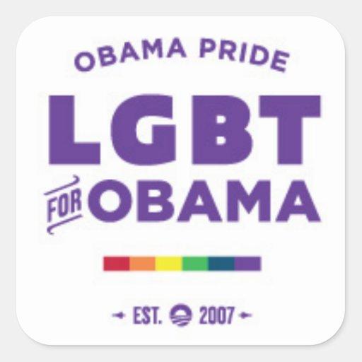 Orgullo gay de Obama Calcomanias Cuadradas