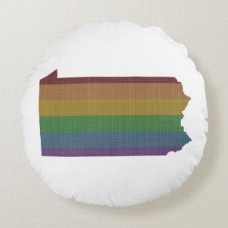 Orgullo gay del arco iris de Pennsylvania Cojín Redondo