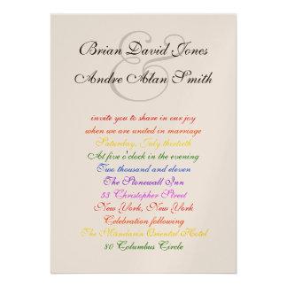 orgullo gay del arco iris LGBT del boda 5x7 metáli Invitacion Personal