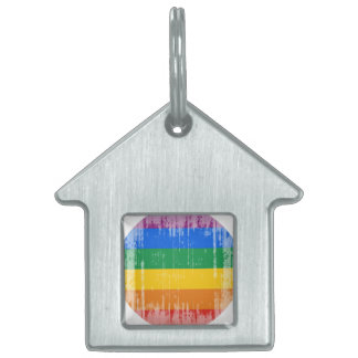 Orgullo gay distressed.png redondo placa de mascota