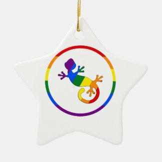 Orgullo homosexual y lesbiano adorno de cerámica en forma de estrella
