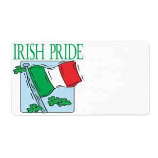 Orgullo irlandés etiquetas de envío
