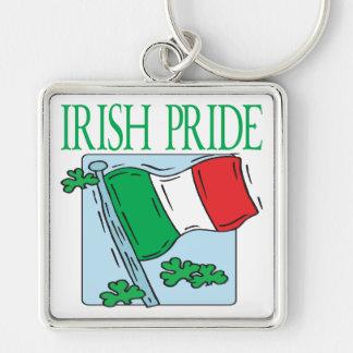 Orgullo irlandés llavero cuadrado plateado
