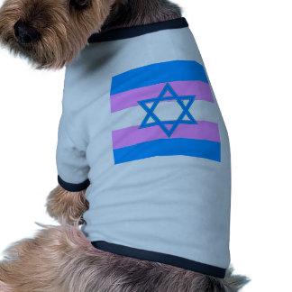 Orgullo judío del transexual camiseta con mangas para perro