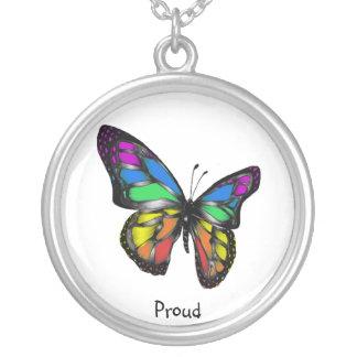Orgullo lesbiano gay del collar de la mariposa del