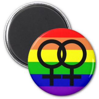 Orgullo lesbiano imán redondo 5 cm