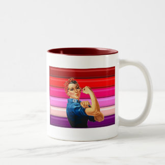 Orgullo lesbiano taza dos tonos