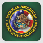 Orgullo mexicano-americano colcomanias cuadradas personalizadas