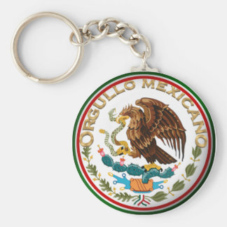 Orgullo Mexicano (Eagle from Mexican Flag) Basic Round Button Keychain