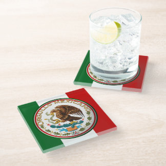 Orgullo Mexicano (Eagle from Mexican Flag) Glass Coaster