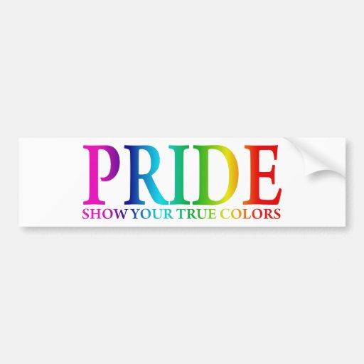 Orgullo - muestre sus colores verdaderos pegatina para auto