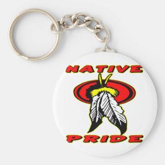 Orgullo nativo #001 llavero redondo tipo pin