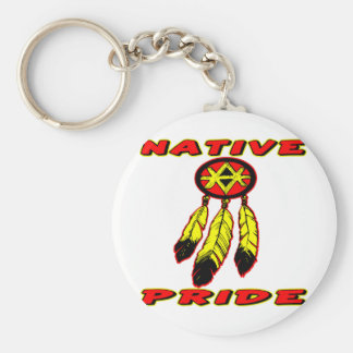 Orgullo nativo 3 plumas llavero redondo tipo pin
