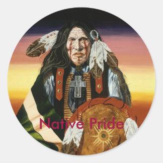 Orgullo nativo pegatina redonda
