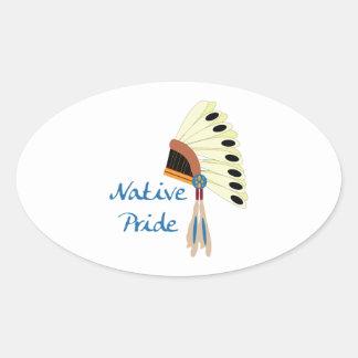Orgullo nativo colcomanias oval personalizadas