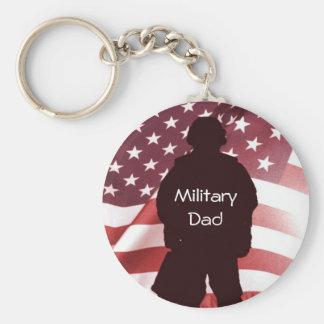 Orgullo patriótico de la familia del papá militar llavero redondo tipo pin