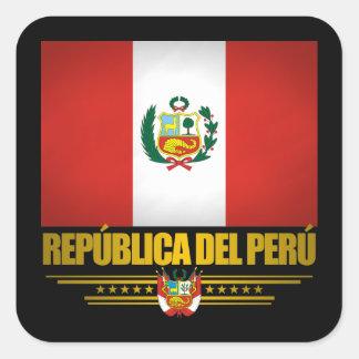 """""""Orgullo peruano """" Pegatina Cuadrada"""