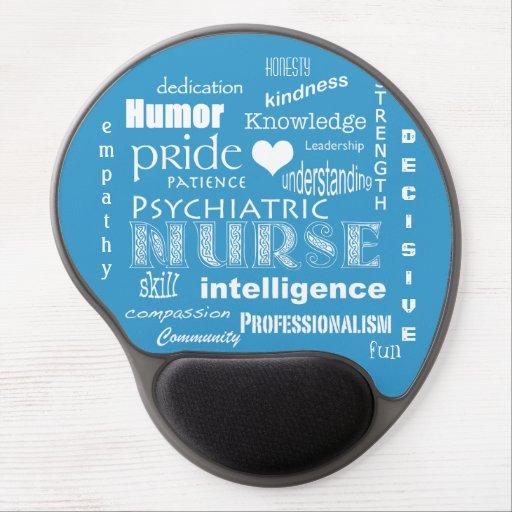 Orgullo psiquiátrico de la enfermera+Corazón/azul Alfombrillas De Raton Con Gel