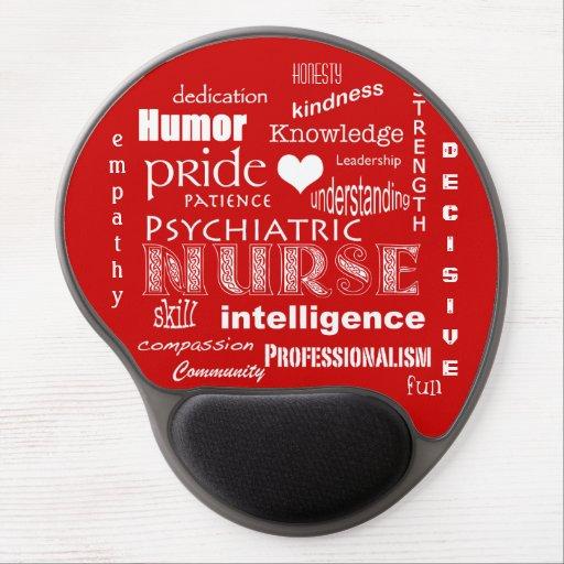 Orgullo psiquiátrico de la enfermera+Corazón/rojo Alfombrillas De Raton Con Gel