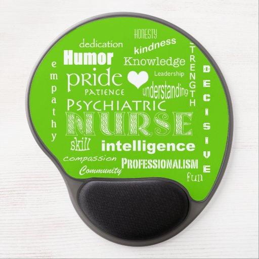 Orgullo psiquiátrico de la enfermera+Corazón/verde Alfombrillas De Ratón Con Gel