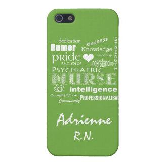 Orgullo psiquiátrico de la enfermera+Nombre/verde  iPhone 5 Coberturas