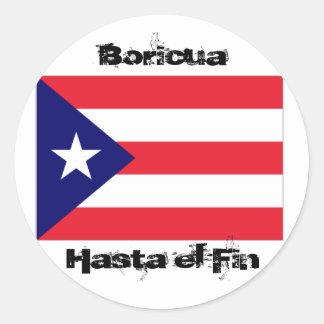 Orgullo puertorriqueño pegatina redonda
