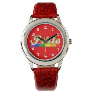 Orgullo que brilla intensamente del orgullo gay relojes de pulsera