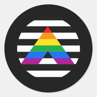 Orgullo recto del aliado etiquetas redondas