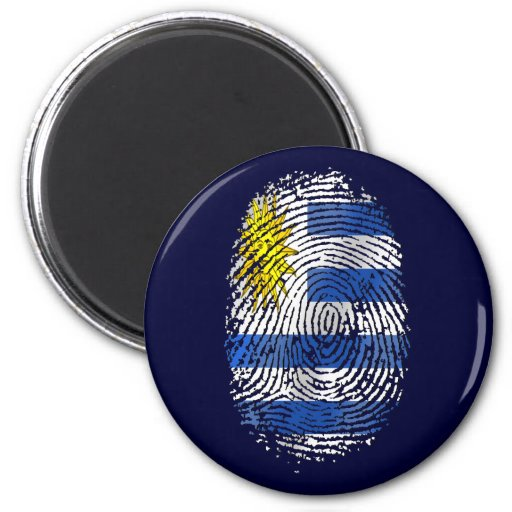Orgullo uruguayo de la bandera de la huella dactil imán redondo 5 cm