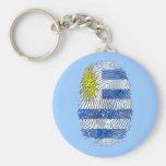 Orgullo uruguayo de la bandera de la huella dactil llavero redondo tipo pin