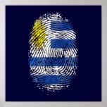 Orgullo uruguayo de la bandera de la huella dactil póster