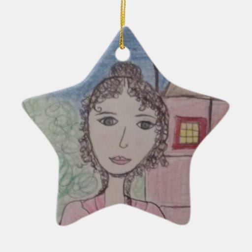 Orgullo y perjuicio adorno navideño de cerámica en forma de estrella