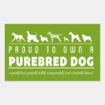 Orgulloso a propio un perro criado en línea pura: rectangular pegatinas
