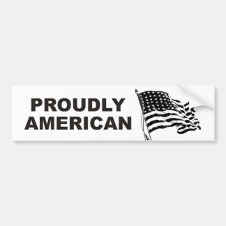 Orgulloso americano con las barras y estrellas que etiqueta de parachoque