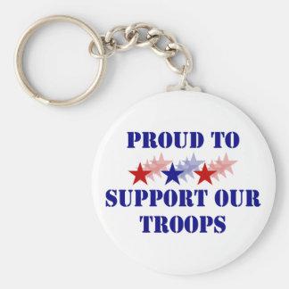 Orgulloso apoyar a nuestras tropas llavero redondo tipo pin