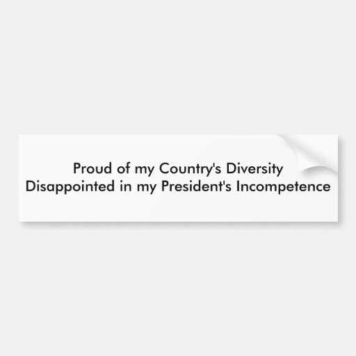 Orgulloso de DiversityDisappointed de mi país en… Pegatina De Parachoque