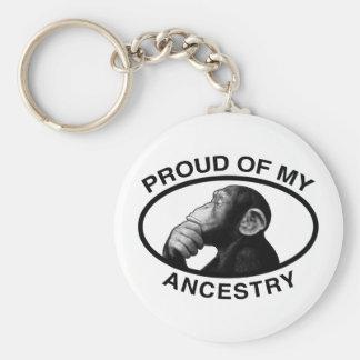 Orgulloso de mi chimpancé de la ascendencia llavero redondo tipo pin