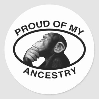 Orgulloso de mi chimpancé de la ascendencia pegatina redonda