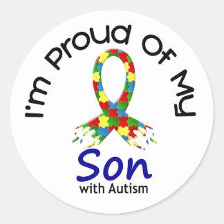 Orgulloso de mi CONCIENCIA autística del AUTISMO Pegatina Redonda