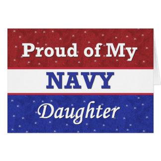 Orgulloso de mi hija de la marina de guerra - tarjeta de felicitación